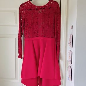 BOUTIQUE Red Lace Long Sleeve Tuxedo Style Dress